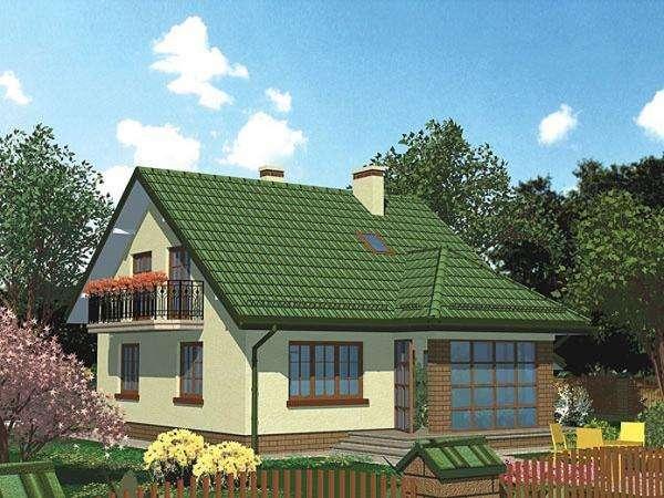 Diseños de casas - Domek z zieloną dachówką (10×10)