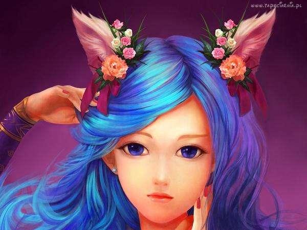 Аниме момиче - Хубаво момиче със синя коса (10×10)