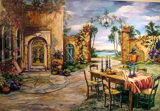 view from the terrace to the s - View from the terrace. Painting. Widok z tarasu na morze. Art. Painting. Jigsaw puzzle (9×10)