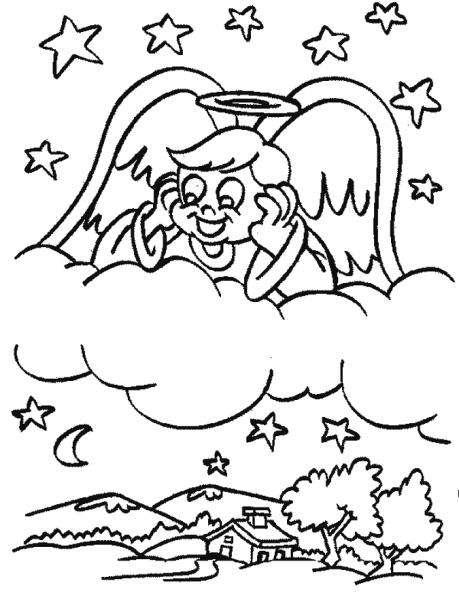 aniołek - aniołek w chmurach przygląda się ziemi (4×4)