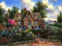 терасова къща в пъстра градина