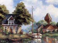 houses by the river and a boat
