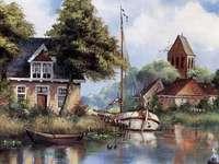 houses by the river and a boat - domy nad rzeką i łódka