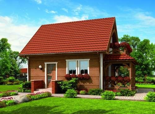 Mały domeczek - Dom z balkonem i tarasem (10×10)
