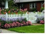 Lantgårdsträdgård - Blommor framför huset på landsbygden