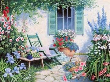 obrazek  malowany - ogród z kwiatami przed domem