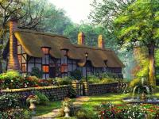 dům zahradní fontána - dům zahradní fontány stromy