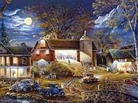 pajta, autók, házak, éjszaka