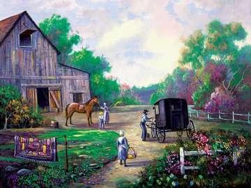 barn garden horse family