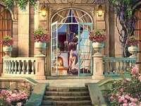 kvinna vid dörren till villan - kvinna vid dörren till villan