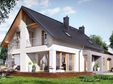 Piętrowy domek - Dom z dużym tarasem