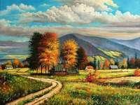 Beskid χρώματα - εξοχικό σπίτι, δέντρα, λόφους, φθινόπωρο