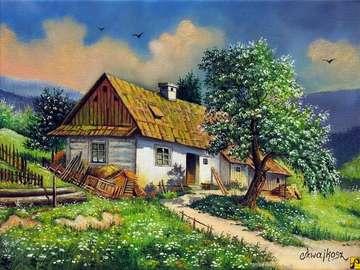 Τοπίο Bieszczady - αγροτικό εξοχικό σπίτι στα βουνά