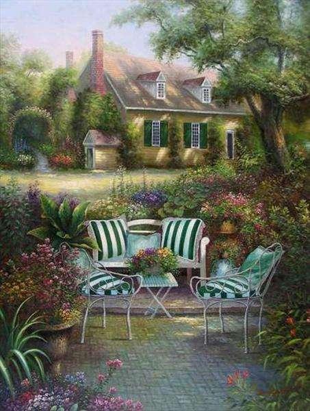 градина, тераса с фотьойли, къща (10×10)