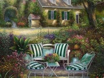 κήπος, βεράντα με πολυθρόνες, σπίτι