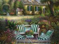 κήπος, βεράντα με πολυθρόνες, σπίτι - κήπος, βεράντα με πολυθρόνες, σπίτι