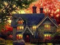 maison, arbres, banc de jardin - dom, drzewa, ogród, ławka