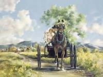 A horse carriage on a dirt roa - konny powóz polną drogą