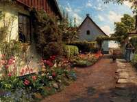 rural farm with flowers