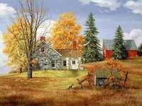 samotny dom,stodoła,jesień