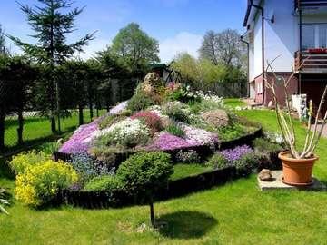Voor het huis - Kleurrijke rotstuin met bloemen