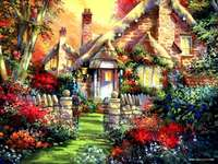 huisje, tuin, omheining, poort