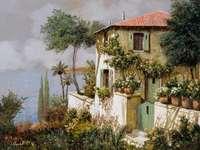 malovaný obrázek - vila na jihu Evropy