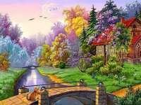 ház, nyár, híd, fa