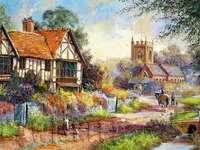 maison, église, jardin