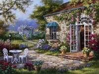 tableau peint - dom z tarasem i kwiaty
