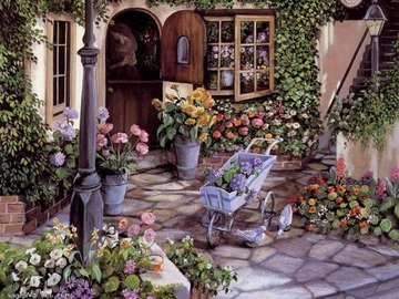 dobry  obrazek  na  puzzle - dom z tarasem w kwiatach