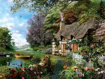 giardino, cottage, alberi, fio - ogród, chata, drzewa, kwiaty