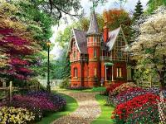 castillo rojo en el bosque