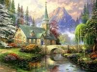 templom a hegyekben a patak felett
