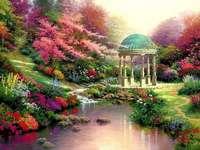 парк, езеро, беседка, цветя