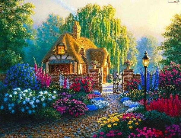 къща, цветя, картина, дърво (10×10)