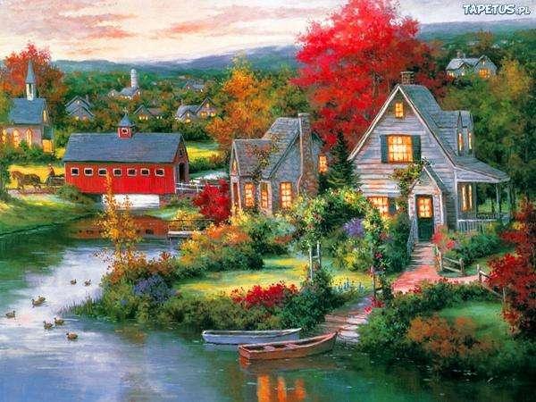 házak, folyó, hajó, fa