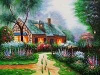 ház, fasor, fák, virágok