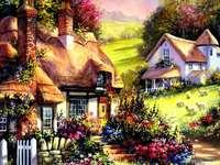 obrazek  malowany - domy na wsi w kolorowym ogrodzie