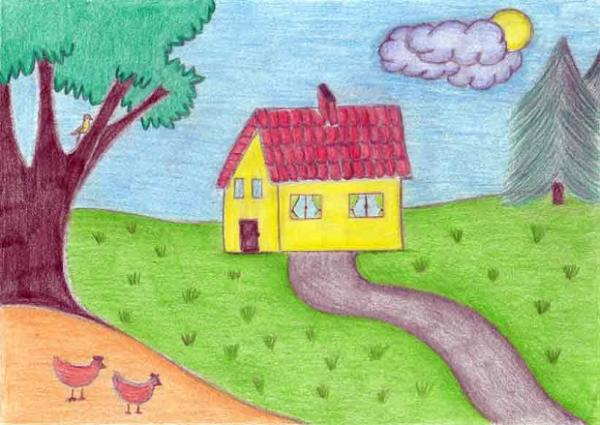 disegno casa - Casa disegnata da un bambino (5×5)