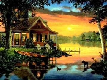 obrazek  malowany - dom nad jeziorem i łódki