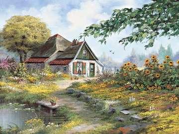 festett kép - festett falusi táj