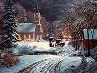 igreja, árvores geadas, - igreja, árvores foscas, estrada