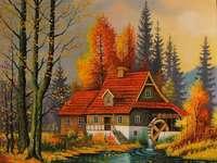 casa, rio, floresta, círculo - casa, rio, floresta, roda de moinho