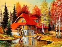 casa de outono, árvores, córrego - casa de outono, árvores, córrego