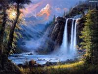 mountains, waterfall, woods