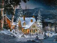 strom, dům, v zimě - strom, dům, zima, sníh