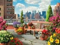 taras,panorama,kwiaty,fotel