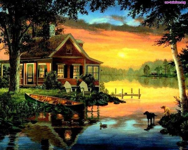 ouest, lac, maison, chien - zachód, jezioro, dom, tartes (10×10)