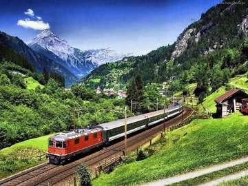 tren valle de los Alpes